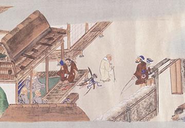 聖人と弁円との出会い(『親鸞伝絵』東本願寺藏)